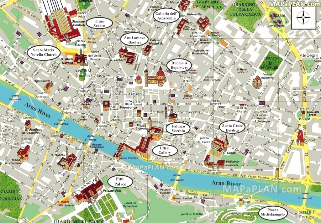 Florence Maps - Top Tourist Attractions - Free, Printable City - Printable Map Of Florence