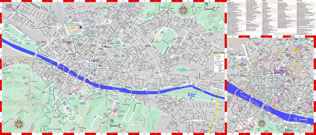 Florence Maps - Top Tourist Attractions - Free, Printable City - Printable Street Map Of Florence Italy