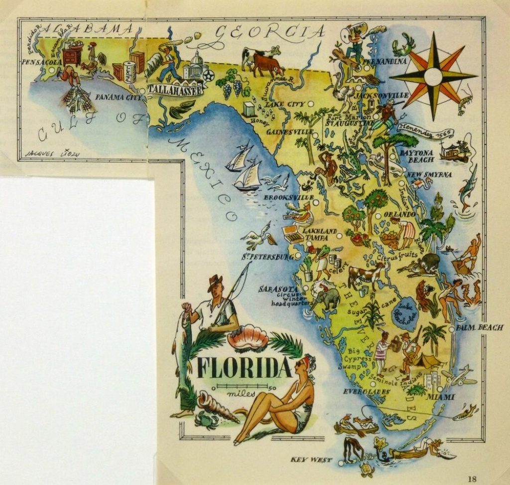 Florida Antique Vintage Pictorial Map | Ebay - Antique Florida Map