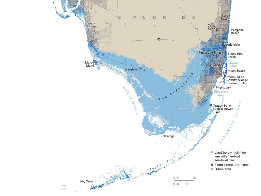 Florida Areas At Risk To A Five Foot Sea Rise | I Love Maps | Map - Florida Sea Level Rise Map