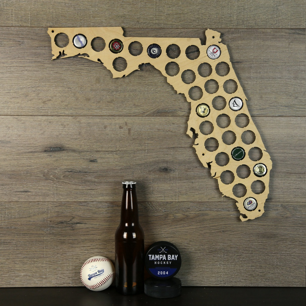 Florida Beer Cap Map Beer Cap Holder Beer Cap State Map Cap | Etsy - Florida Beer Cap Map