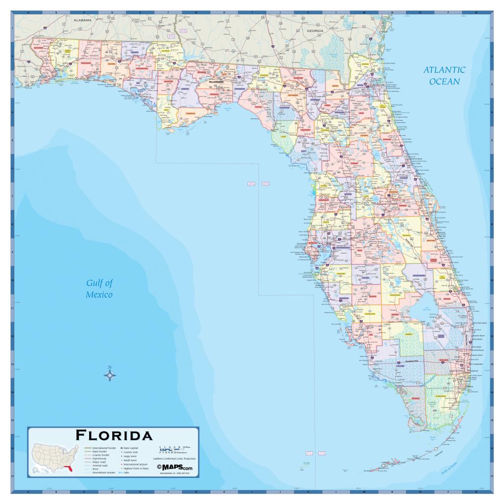 Florida County Wall Map - Maps - Giant Florida Map