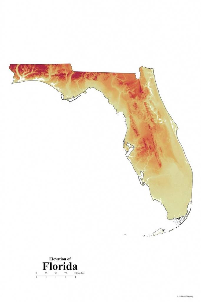 Florida Elevation Map | Etsy - Florida Elevation Map