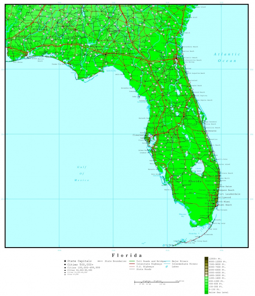 Florida Elevation Map - Topographic Map Of South Florida