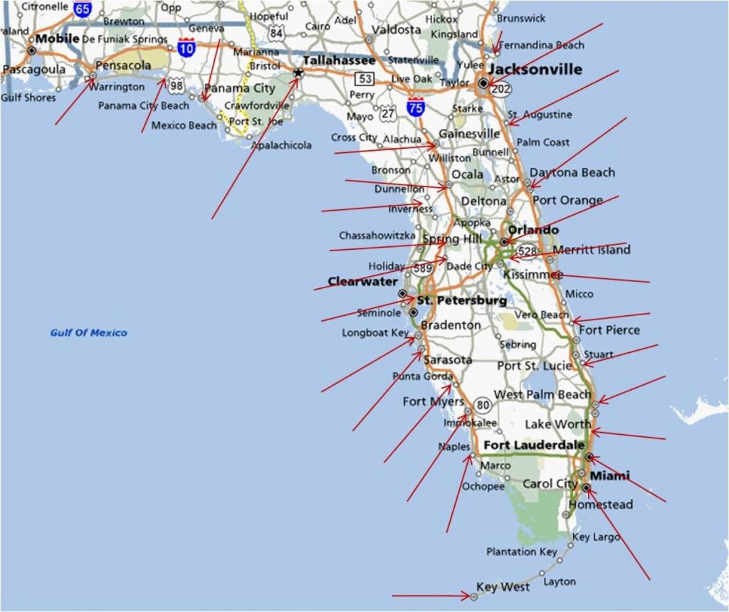 Florida Gulf Coast Beaches Map | M88M88 - Map Of Florida West Coast