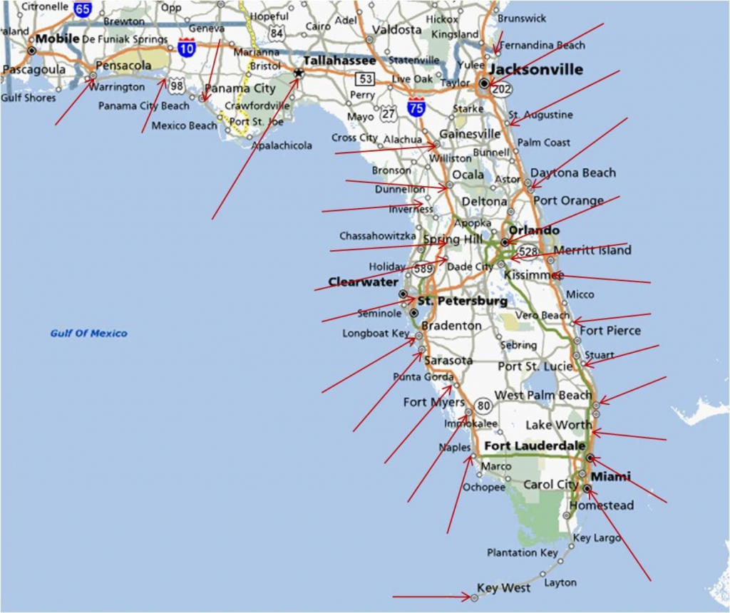 Florida Gulf Coast Beaches Map | M88M88 - West Florida Beaches Map