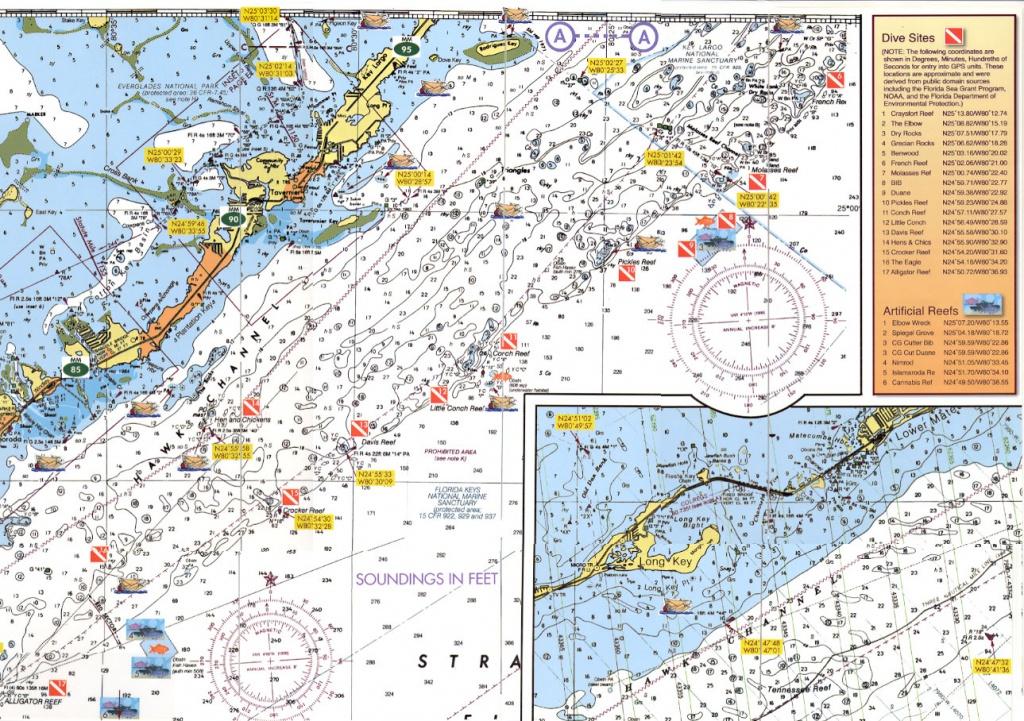 Florida Keys Dive Charts - Florida Keys Dive Map