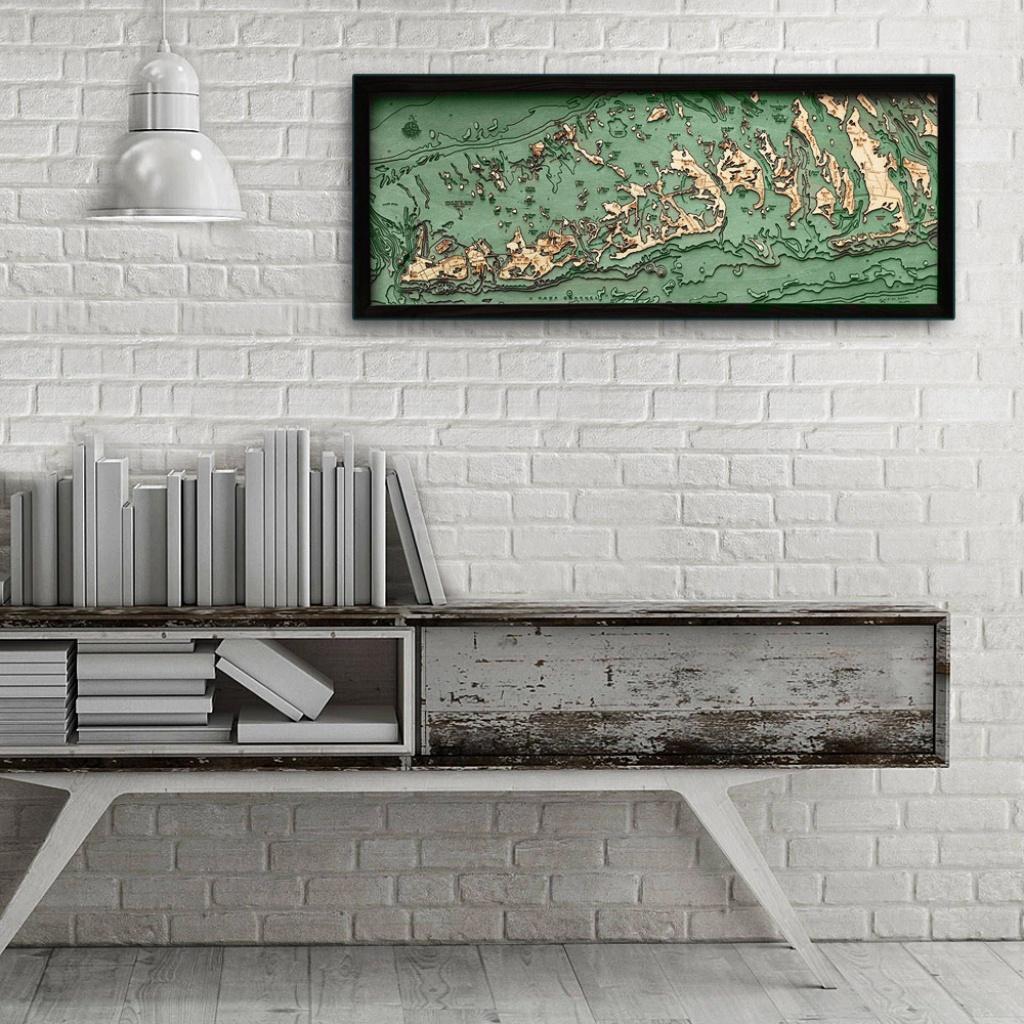 """Florida Keys, Florida 3D Nautical Wood Map, 13.5"""" X 31"""" - Florida Keys Map Poster"""