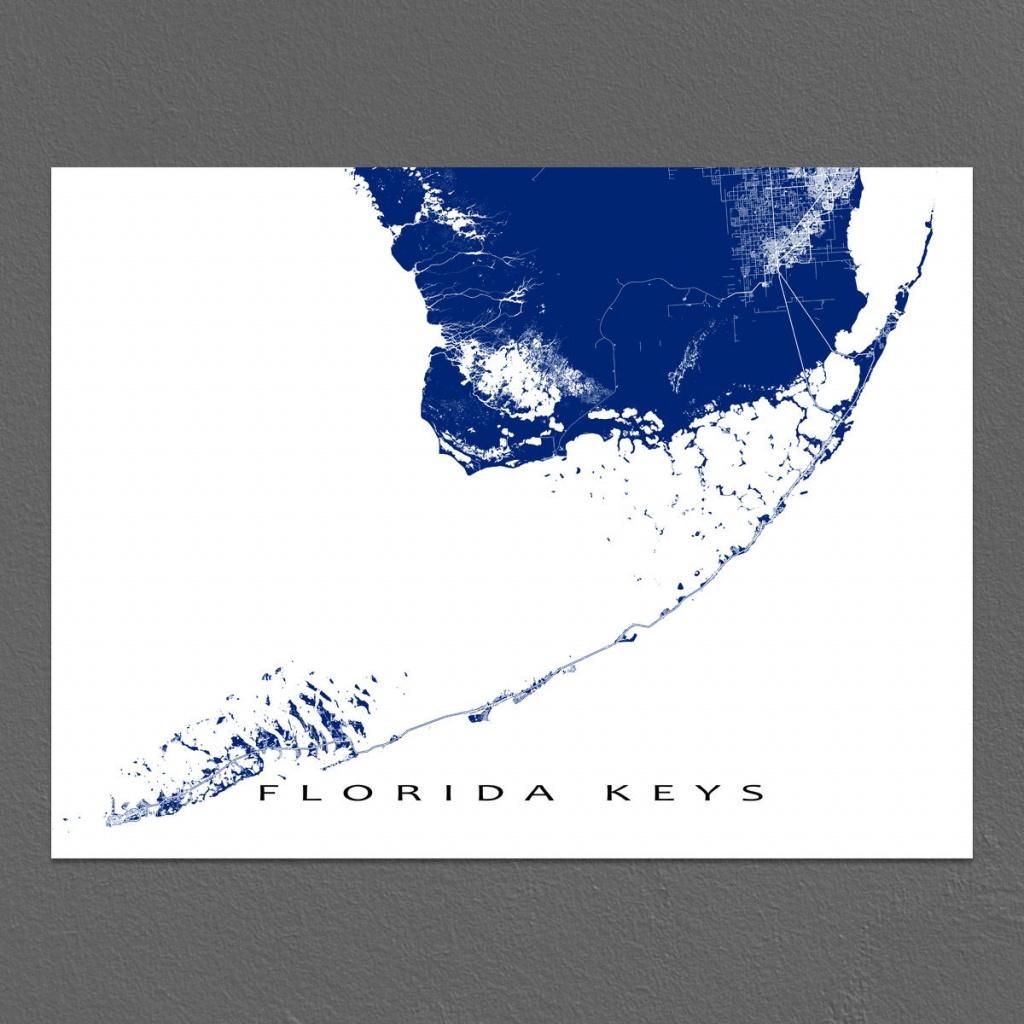 Florida Keys Map Print Key West Map Key Largo Florida Keys | Etsy - Florida Keys Map Art