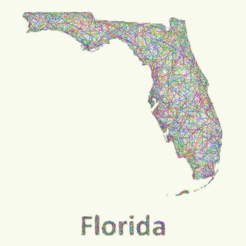 Florida Line Art Mapdavid Zydd - Florida Map Art