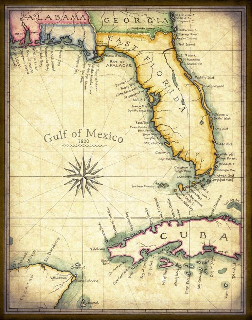 "Florida Map Art 1820 - 11"" X 14"" +, Prints From Hand Drawing - Florida Maps  - Miami - Florida Keys - Pensacola - Tampa - Jacksonville - Maps - Florida Map Art"