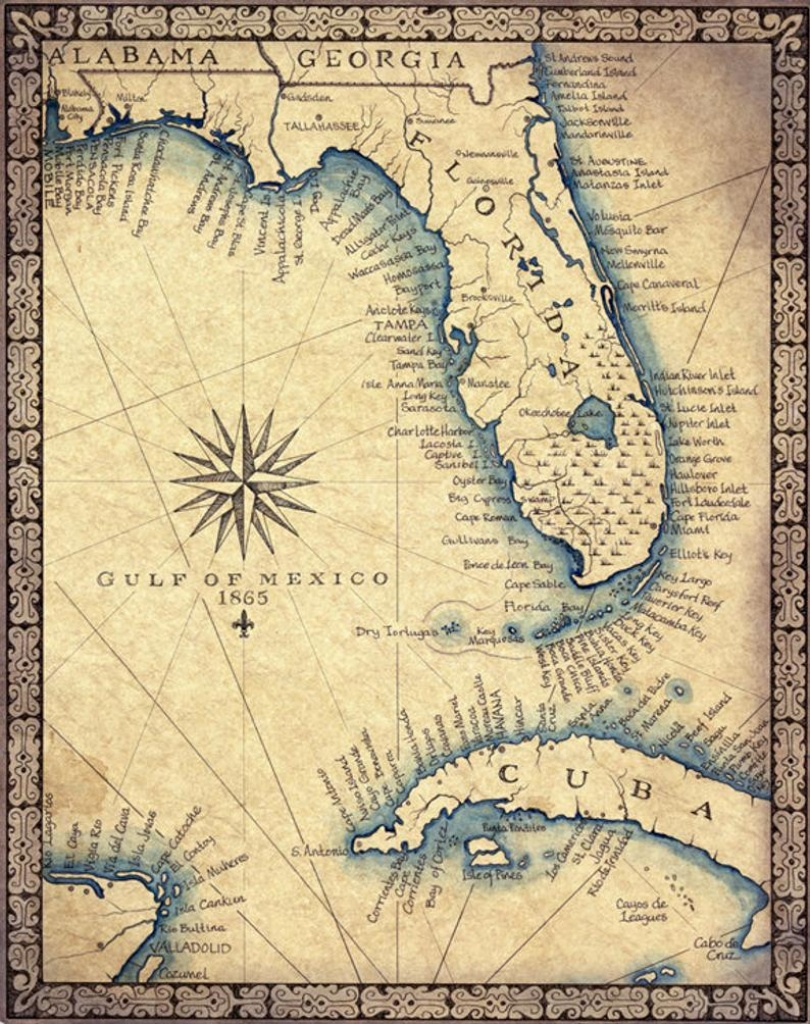 "Florida Map Art Print C .1865 11"" X 14""+, Hand Drawn Old Florida Map With  Cuba, Miami South Beach And The Florida Keys To Key West Map - Florida Map Art"