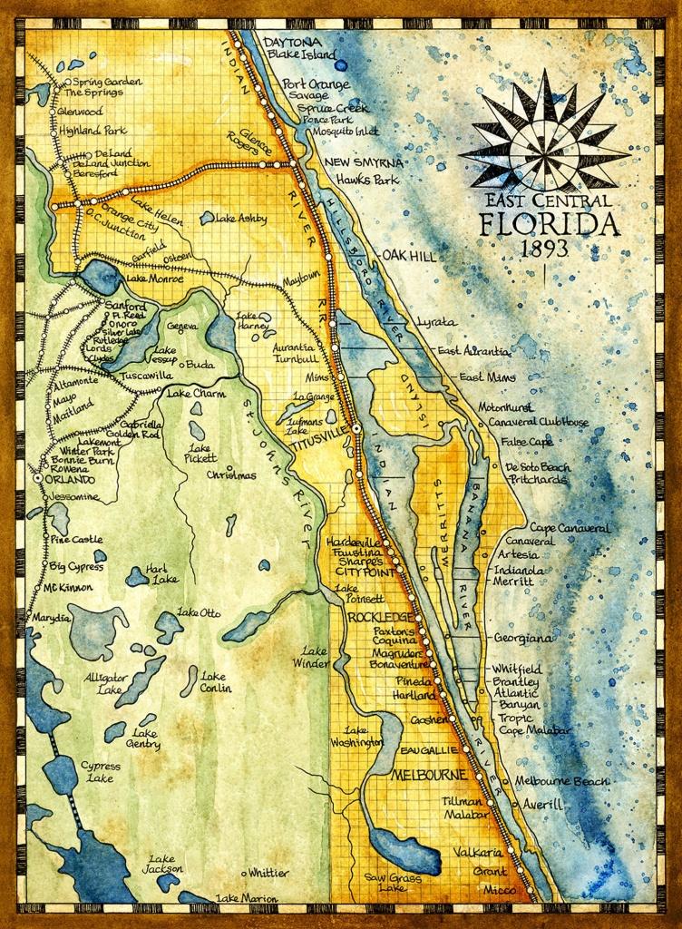 Florida Map Art Print C. 1893 - Florida Map Art