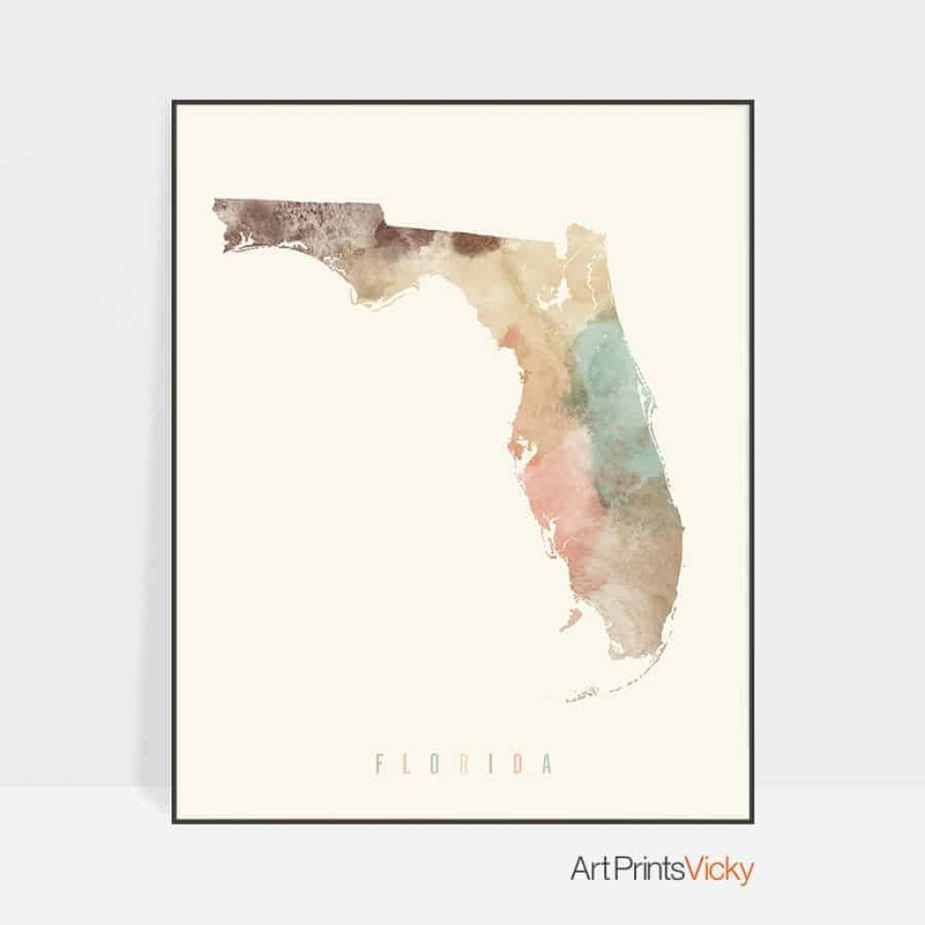 Florida Map Artwork Print Pastel Cream | Art Prints Vicky - Florida Map Artwork