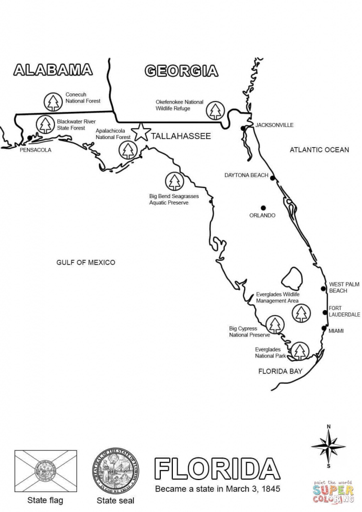 Florida Map Coloring Page | Free Printable Coloring Pages - Florida State Map Printable