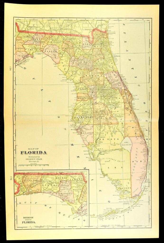 Florida Map Of Florida Wall Art Decor Antique Large Early   Etsy - Florida Map Wall Decor