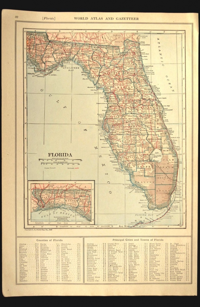 Florida Map Of Florida Wall Art Decor Railroad Antique | Etsy - Florida Map Wall Decor