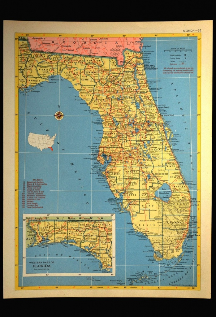 Florida Map Of Florida Wall Art Decor Vintage 1950S Original | Etsy - Map Of Florida Wall Art