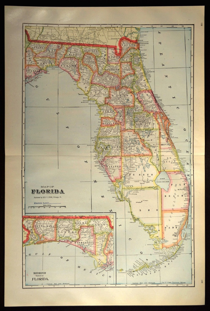 Florida Map Of Florida Wall Decor Art Large Antique Colorful County - Map Of Florida Wall Art