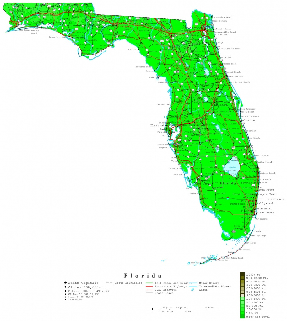 Florida Map - Online Maps Of Florida State - Interactive Elevation Map Of Florida