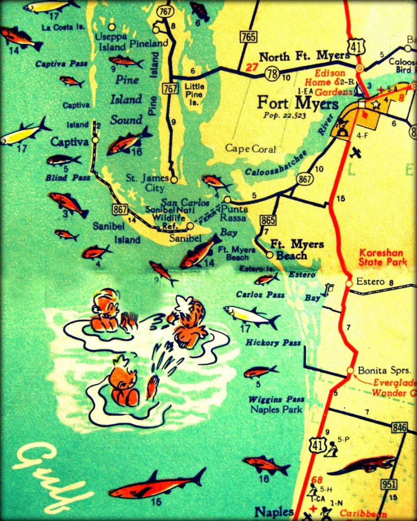 Florida Map Print 11X14 Retro Beach Photo Vintage Vacation Sanibel - Printable Map Of Ft Myers Fl