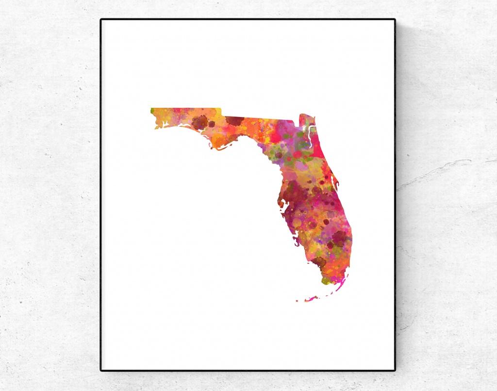 Florida Map Print, Florida Rainbow Art, Florida Map Watercolor, Map Wall  Decor, Travel Print, Florida Map Poster, Adventure Print, Travel - Florida Map Art