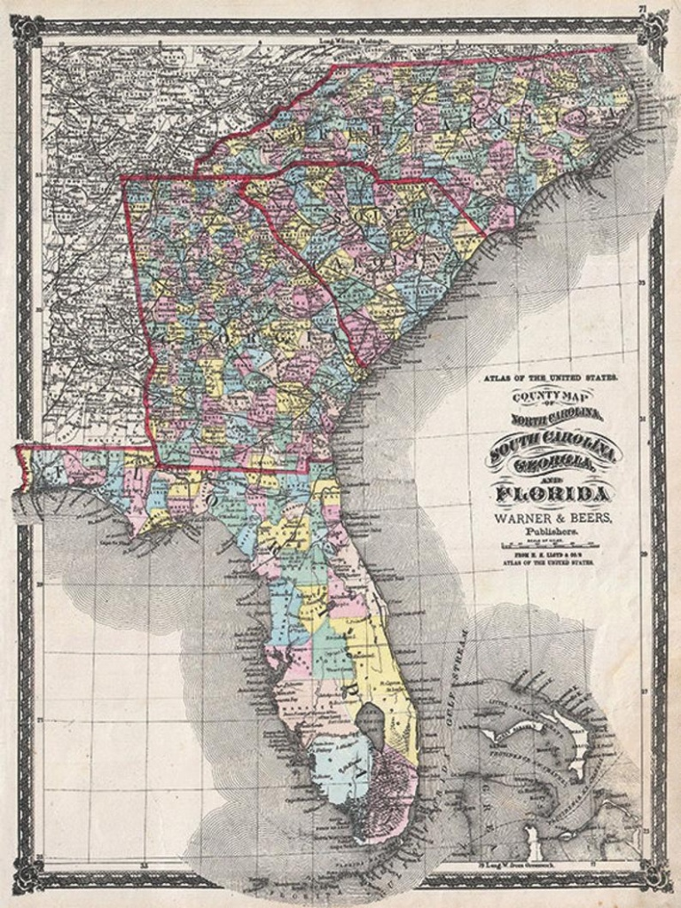 Florida Map Print State Map Vintage Old Maps Antique Prints Poster Map Wall  Home Decor Wall Map Florida Print Old Prints Florida Decor 12X16 - Old Florida Maps Prints
