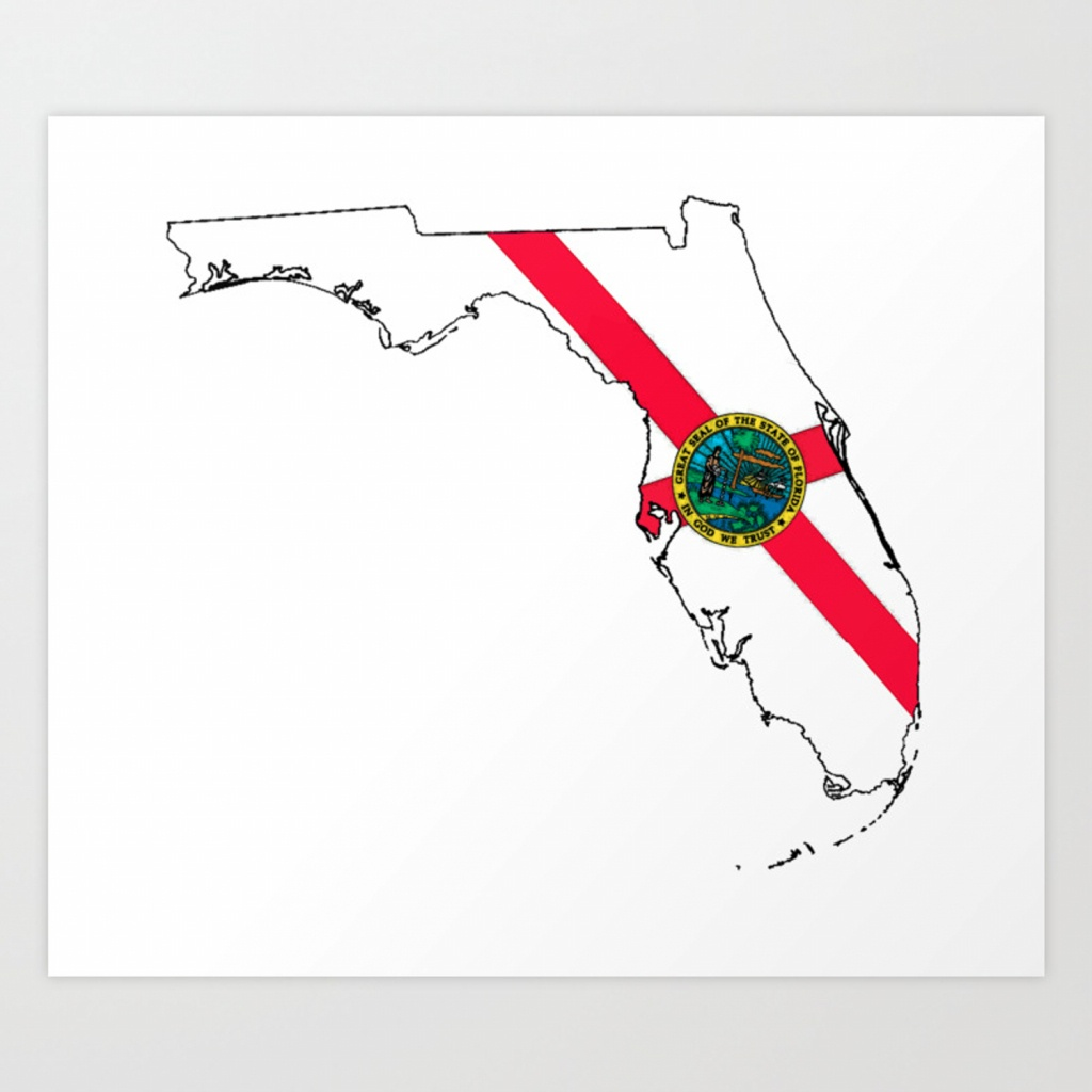 Florida Map With Florida State Flag Art Print - Florida Map Artwork