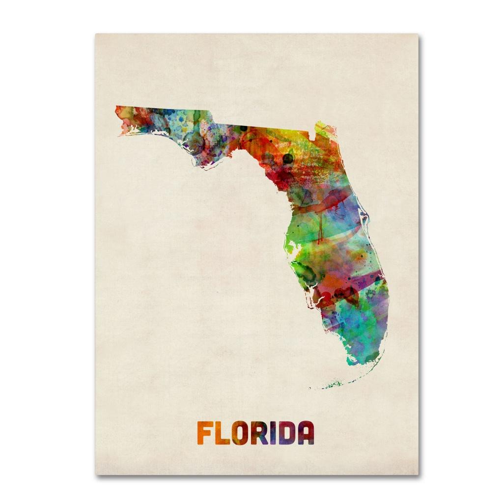 'florida Map'michael Tompsett Framed Graphic Art On Wrapped Canvas - Florida Map Art