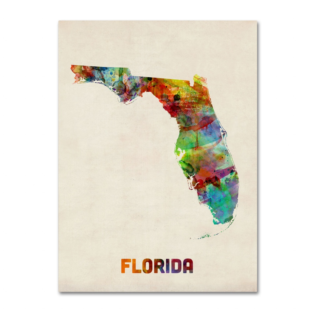 'florida Map'michael Tompsett Framed Graphic Art On Wrapped Canvas - Florida Map Artwork
