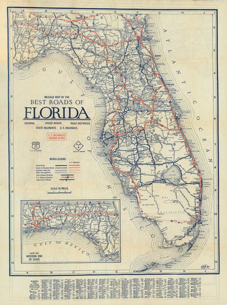 Florida Memory - Clason's Guide Map Of Florida, C. 1927 - Seabreeze Florida Map