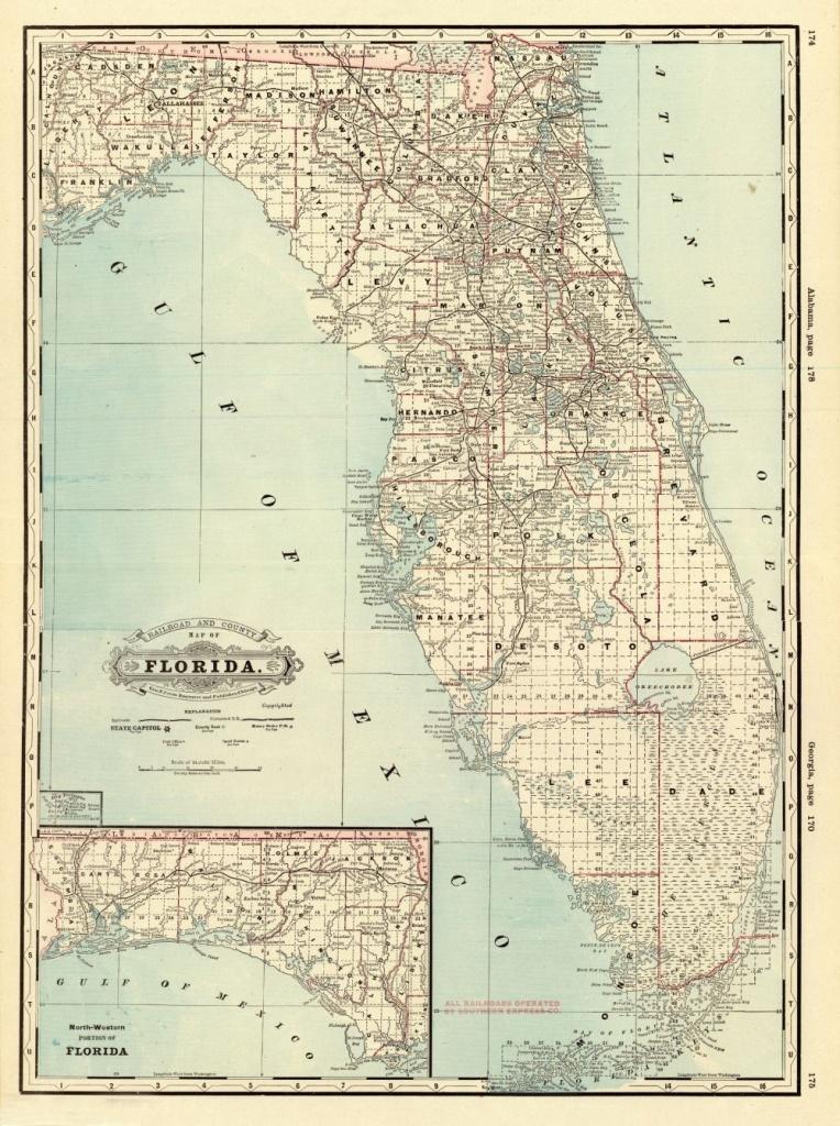 Florida Memory - County Map Of Florida, 1885 | History Of Plant City - Plant City Florida Map