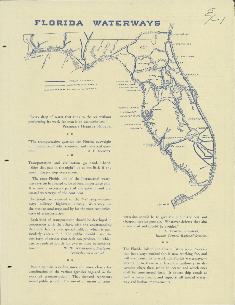 Florida Memory - Map Of Florida Waterways And Proposed Canals (Ca. 1930) - Florida Waterways Map