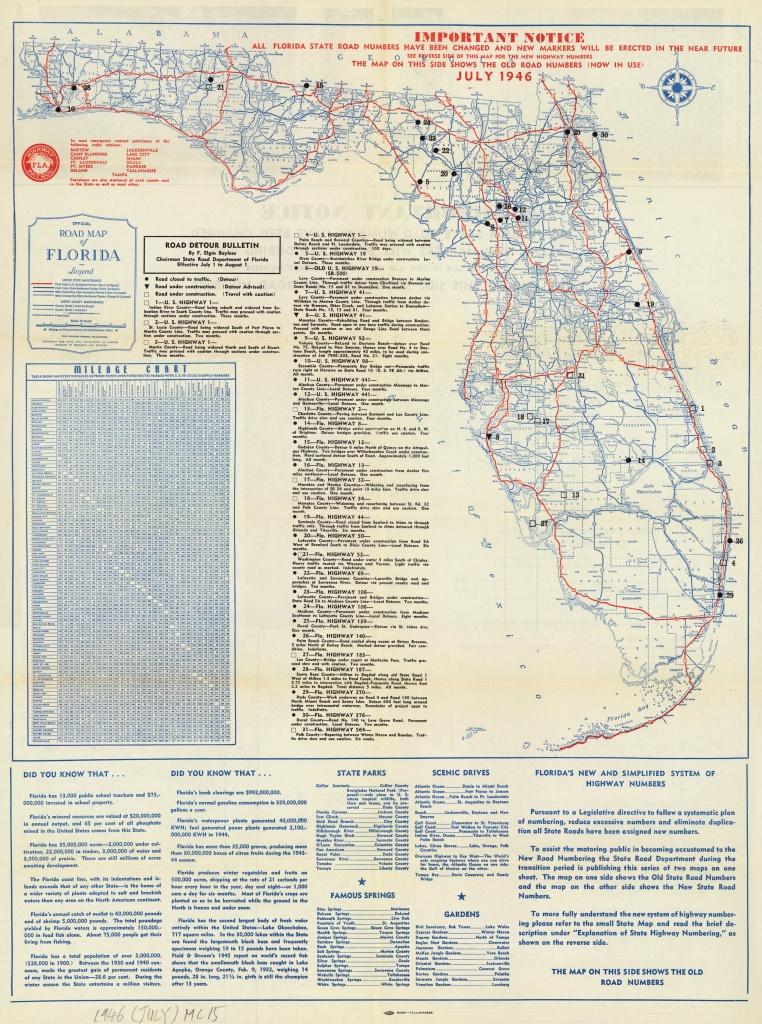 Florida Memory - Official Road Map Of Florida, 1946 - Carrabelle Florida Map