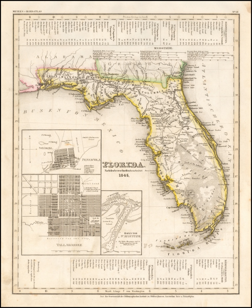 Florida. Nach Den Besten Quellen Bearbeitent 1845 - Barry Lawrence - Lake George Florida Map