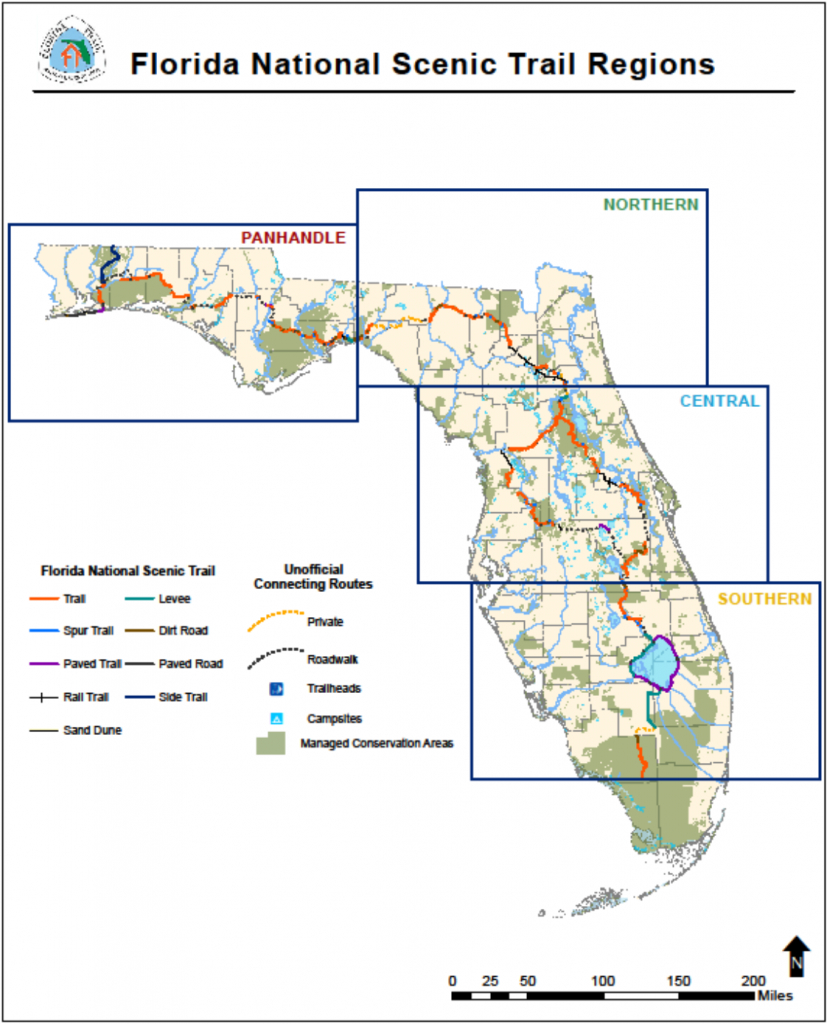 Florida National Scenic Trail - About The Trail - Central Florida Bike Trails Map