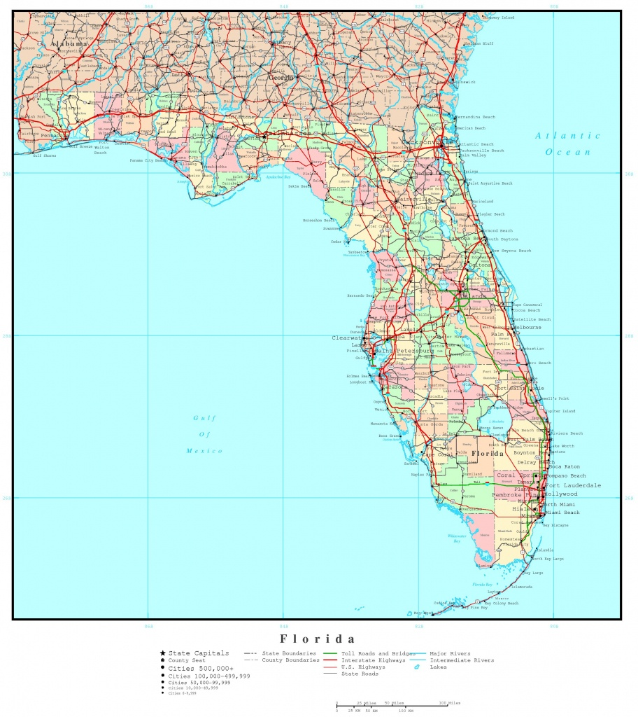 Florida Political Map - Laminated Florida Map