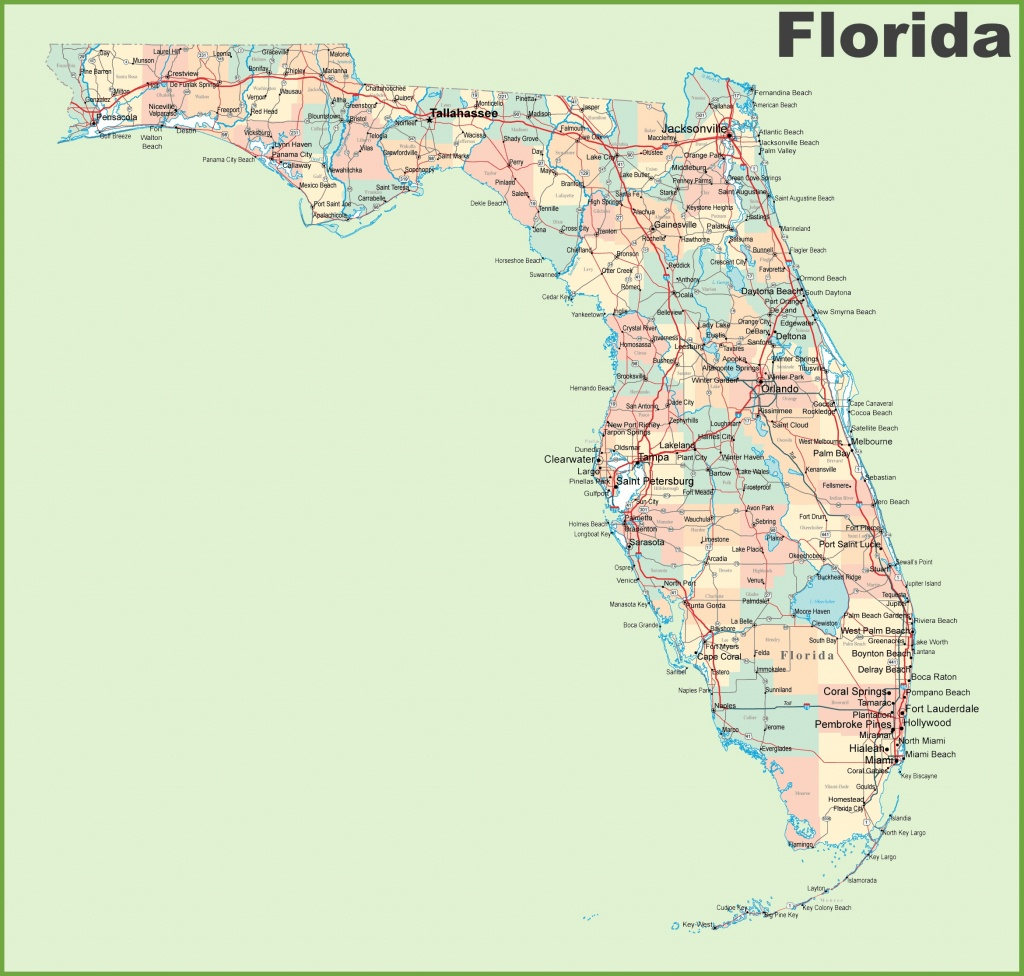 Florida Road Map With Cities And Towns - Detailed Road Map Of Florida