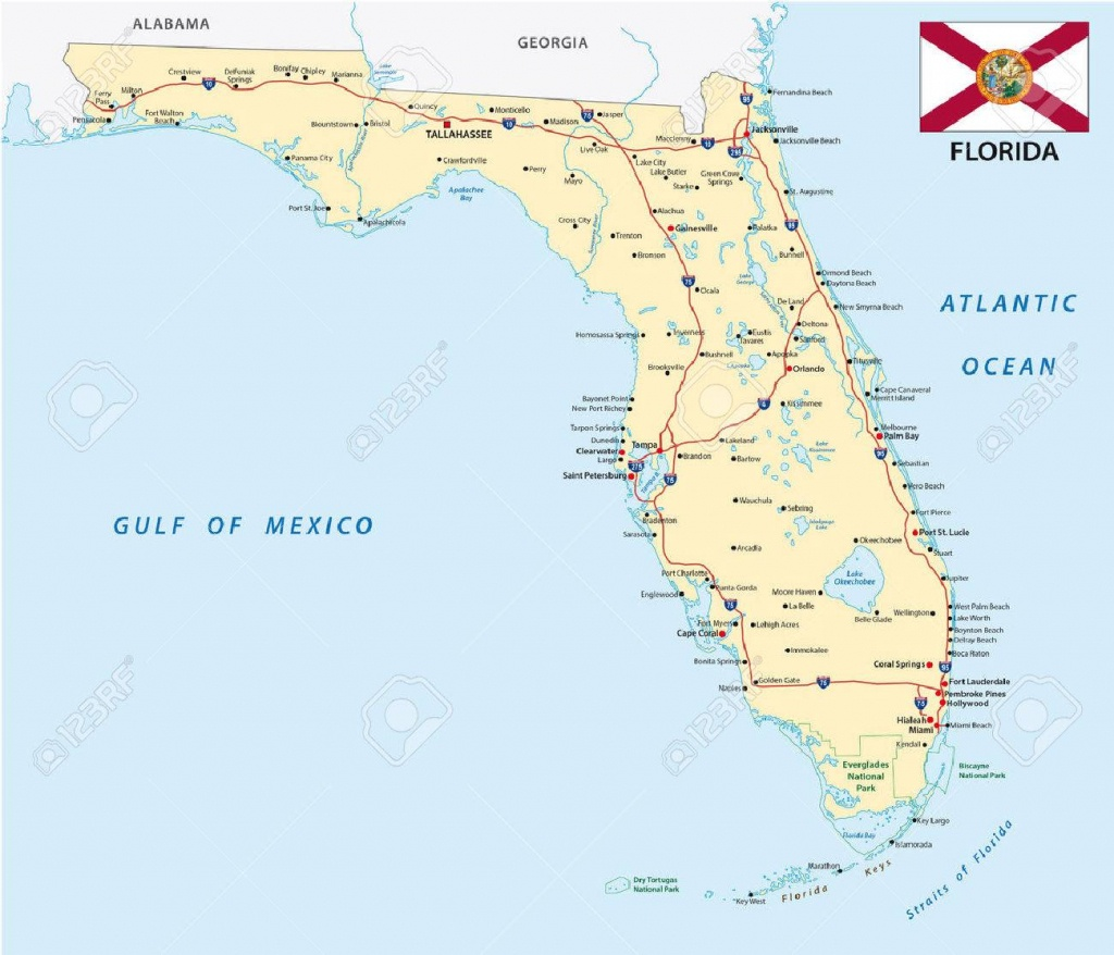 Florida Road Map With Flag Royalty Free Cliparts, Vectors, And Stock - Belle Glade Florida Map