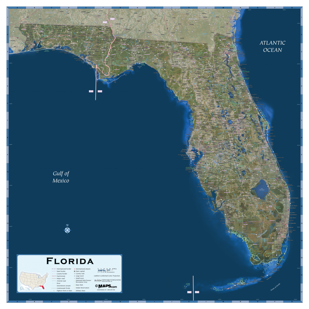 Florida Satellite Map - Maps - Florida Wall Maps For Sale