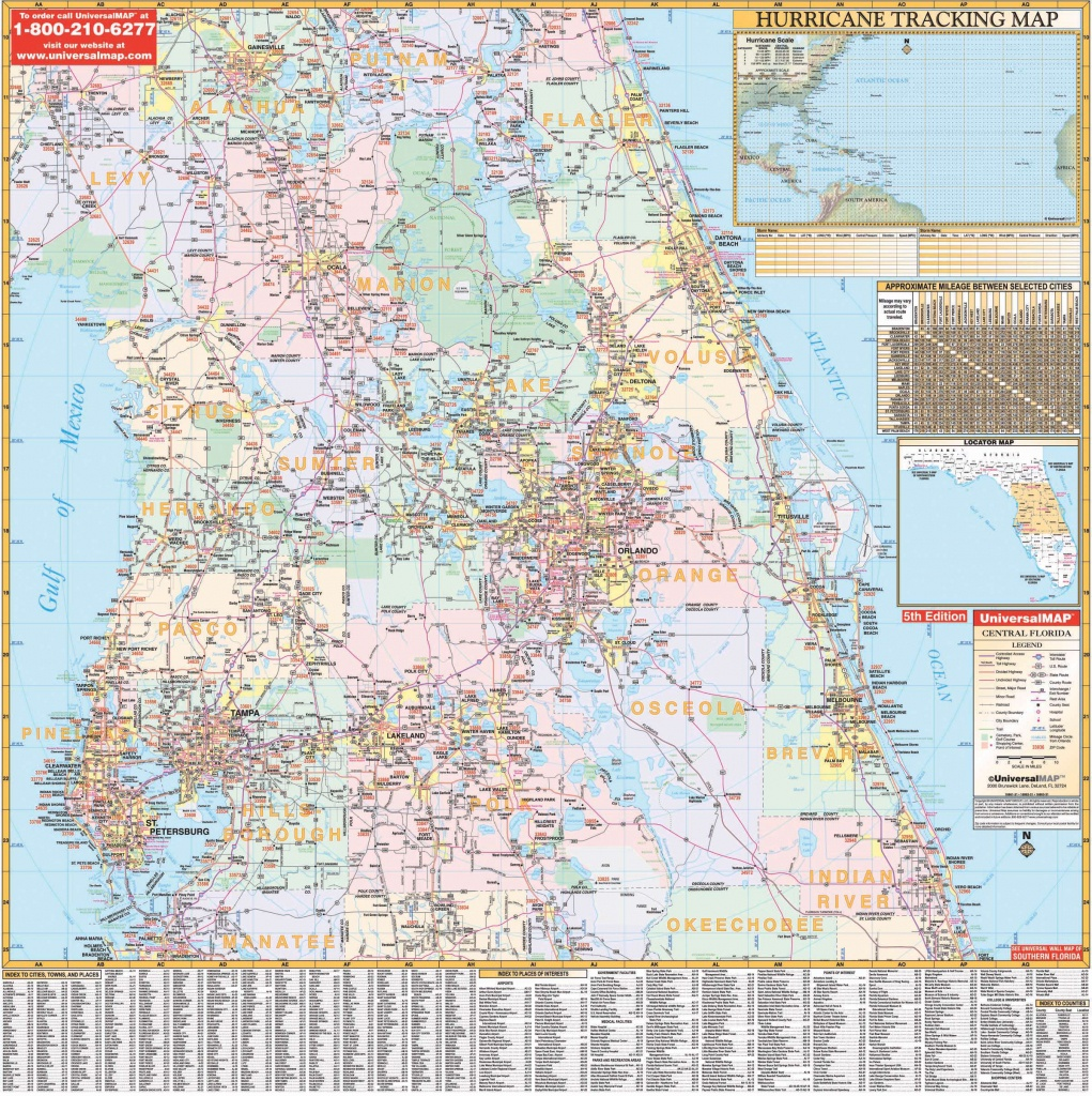 Florida State Central Wall Map – Kappa Map Group - Map Of Hernando County Florida