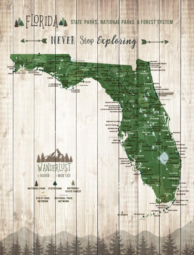 Florida State Gift State Parks Map Florida Wall Art State | Etsy - Florida State Parks Map