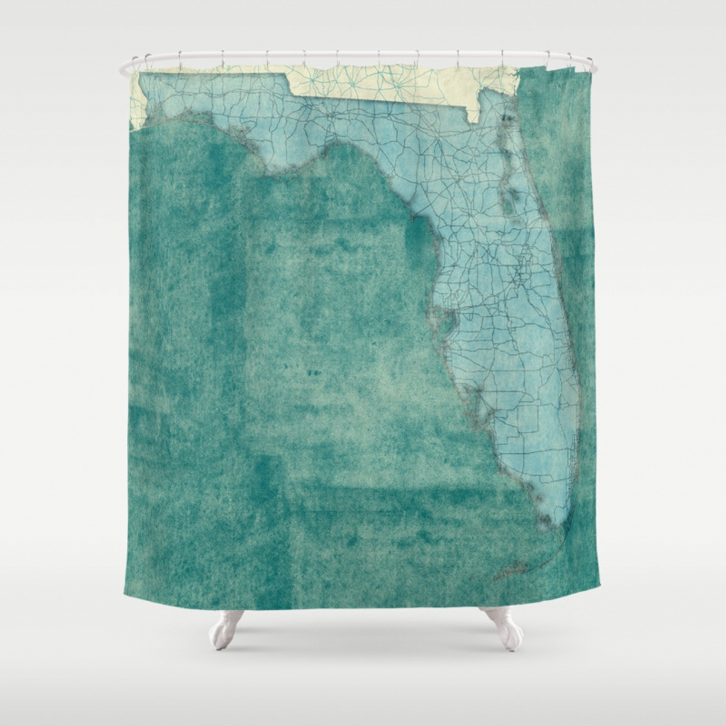 Florida State Map Blue Vintage Shower Curtainhubertroguski - Florida Map Shower Curtain