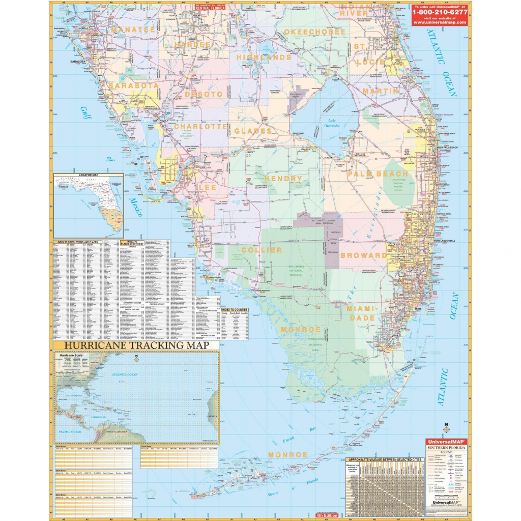 Florida State Southern Region Wall Map - The Map Shop - Florida Wall Map