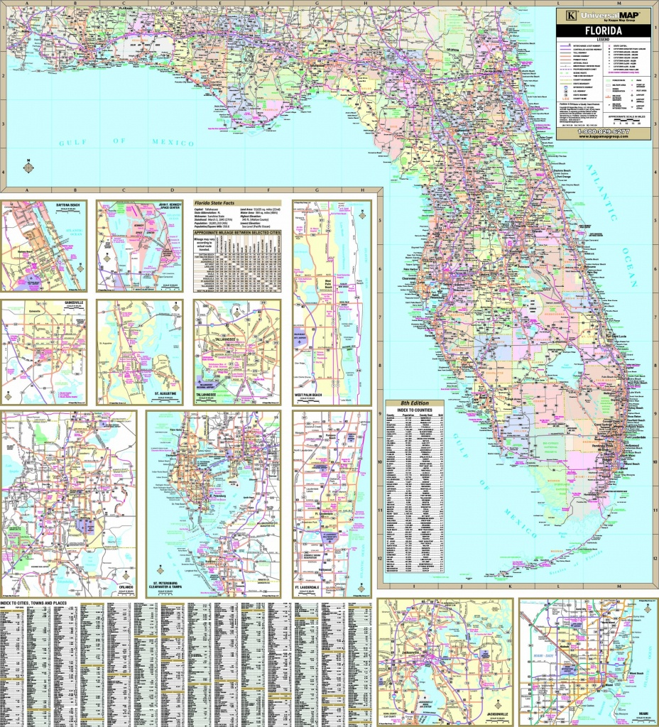 Florida State Wall Map - Maps - Florida Wall Map
