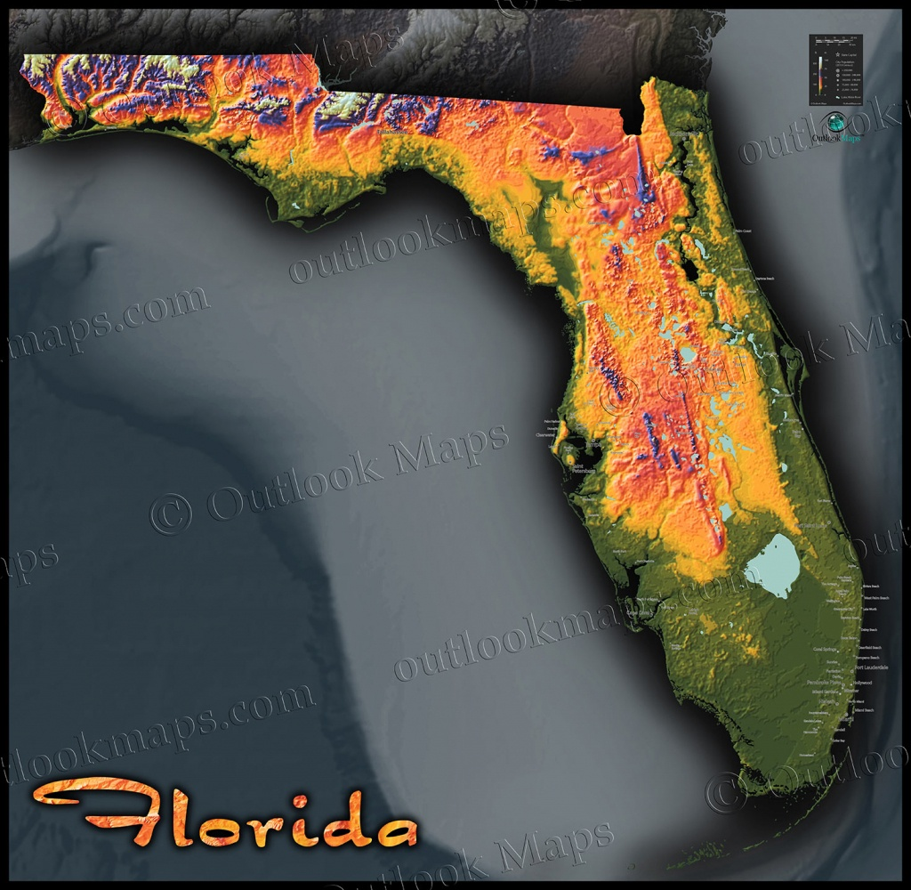 Florida Topography Map | Colorful Natural Physical Landscape - Topographic Map Of South Florida