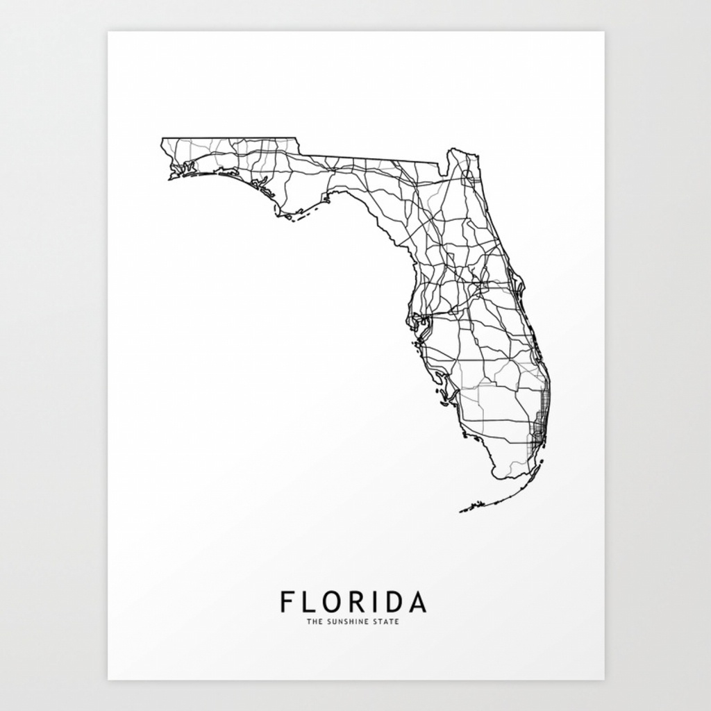 Florida White Map Art Print - Florida Map Art