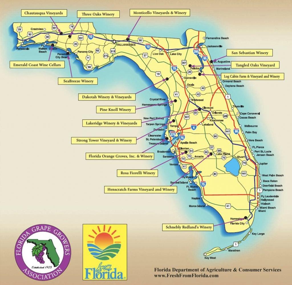 Florida Wine Regions Map | Wine Regions | Florida Trail, Visit - Florida Winery Map