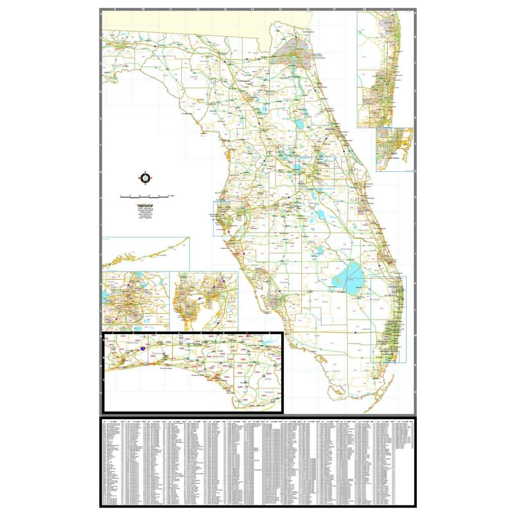 Florida Zip Code Wall Map - The Map Shop - Florida Wall Map