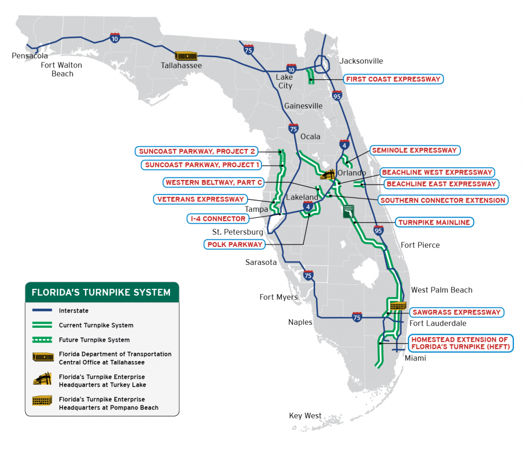 Florida's Turnpike - The Less Stressway - Juno Beach Florida Map
